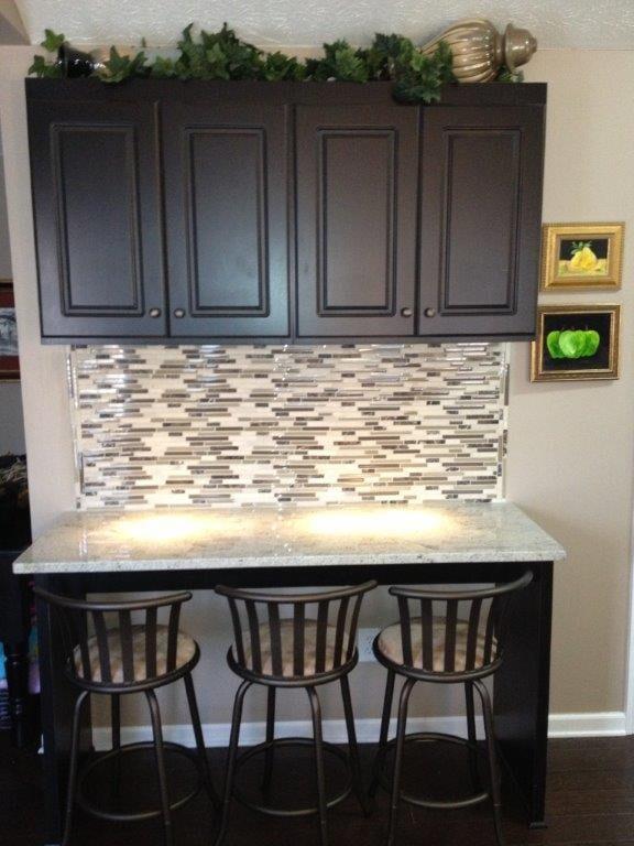 Glass tile backsplash in Cumming GA from Purdy Flooring & Design
