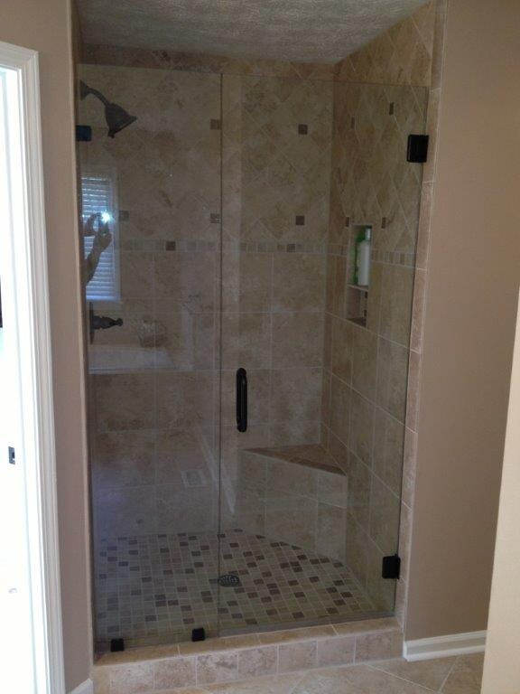 Custom glass shower doors in Gainesville GA from Purdy Flooring & Design
