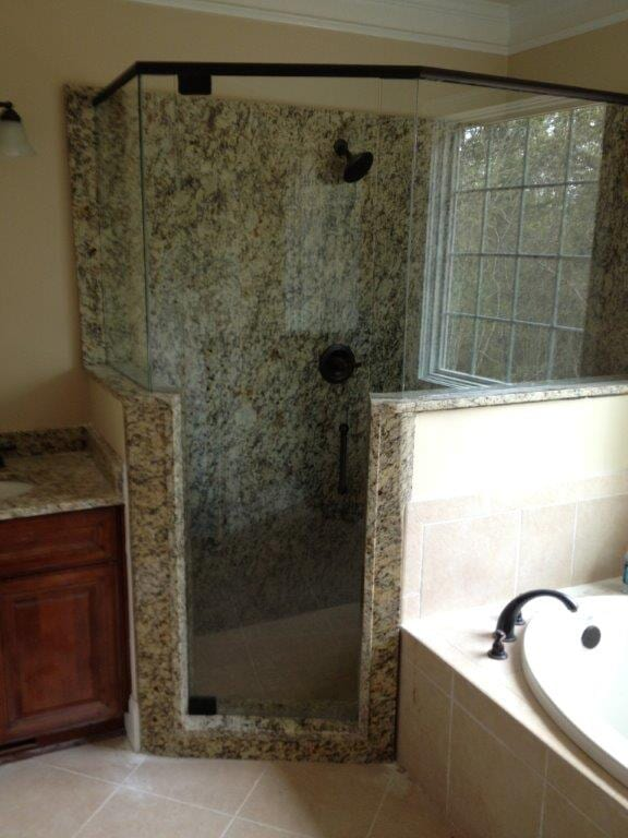 Glass shower door installation in Cumming GA from Purdy Flooring & Design