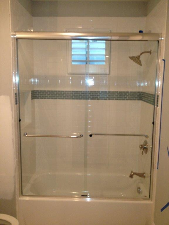 Glass shower doors in Dacula GA from Purdy Flooring & Design