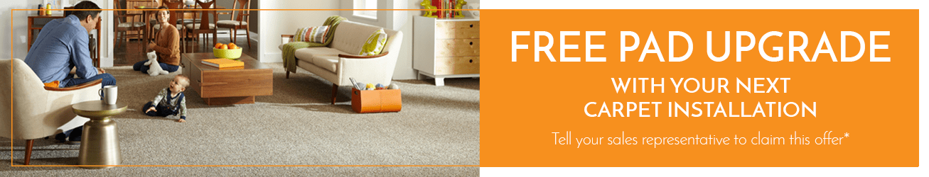 Free pad upgrade offer with installation from Dura Flooring, Inc.