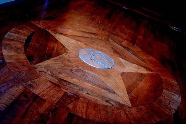 Custom hardwood inlay in Southlake TX by Masters Flooring