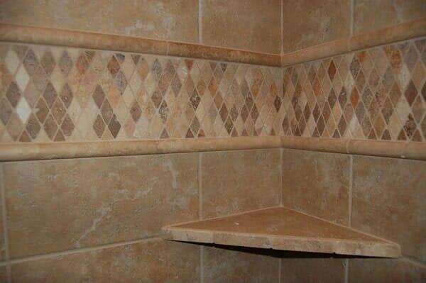Custom tile inset in shower in Keller TX by Masters Flooring