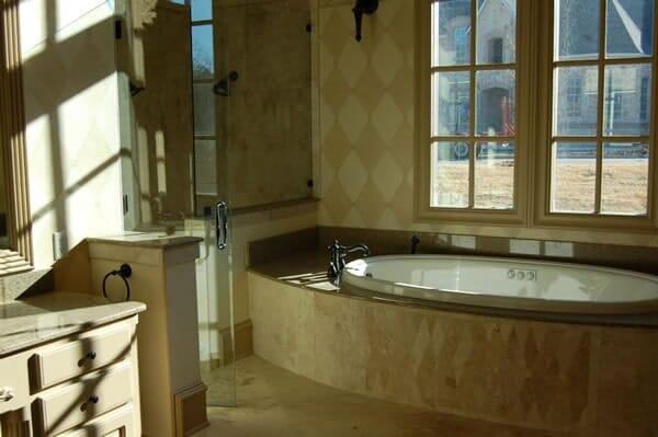 Custom marble bath in Fort Worth TX by Masters Flooring