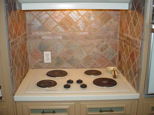 Custom stove backsplash in Keller TX by Masters Flooring