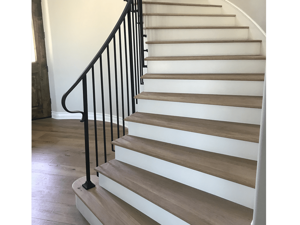 "Artisan - Villa Blanca - Andalucia - 9"" wide - UV urethane finish - custom treads to match - smoke hardwood"