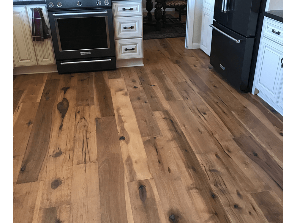"Artisan hardwood - villa Blanca collection - Barcelona - Hickory - 7 1/2"" wide - smoked hardwood - UV urethane finish  3"