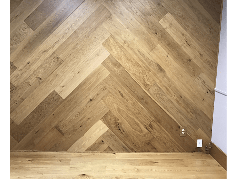 Latitude hardwood - pacific beach - European white oak - custom pattern - wall covering - wide planks 2