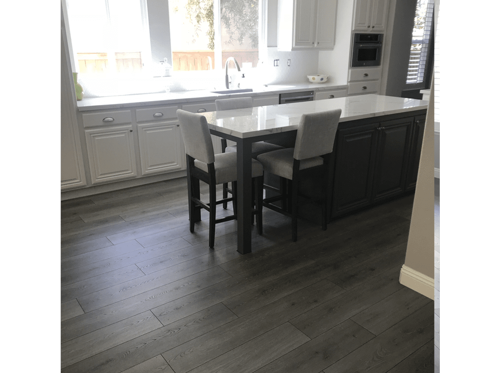 Laminate by Mohawk  - boardwalk collection - graphite oak - made in USA - fake or real wood-