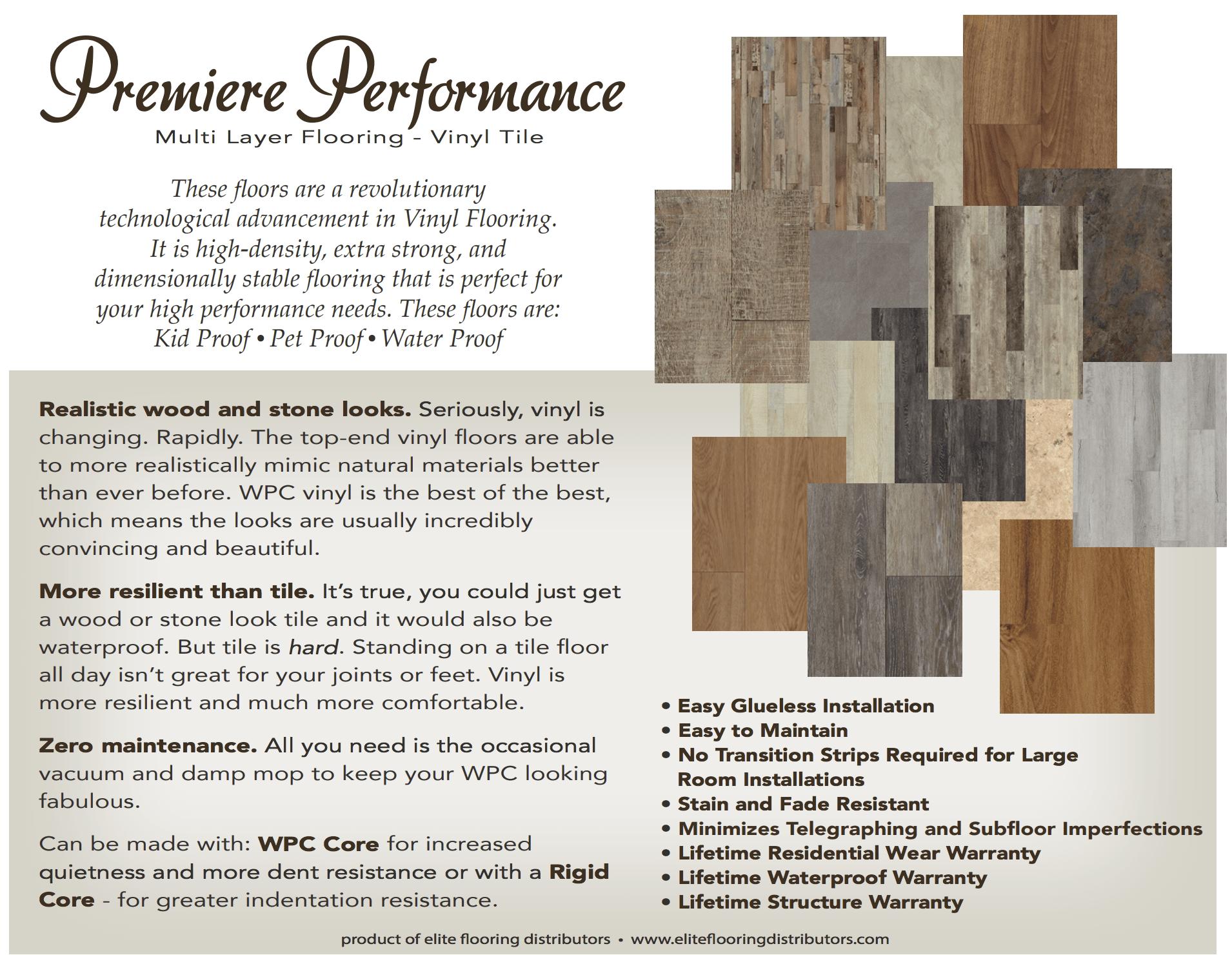 Elite Flooring Distributors carries multi layered vinyl tile floors by Premiere Performance