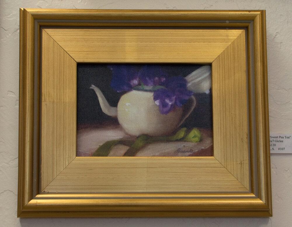 """""""Sweet Pea Tea"""" - Oil Painting by Lucinda Swain"""
