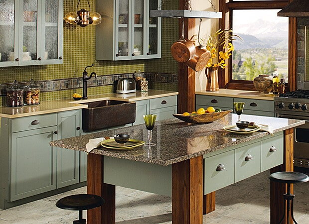 Harvest Grains color on countertops and Lunar Landing on the island