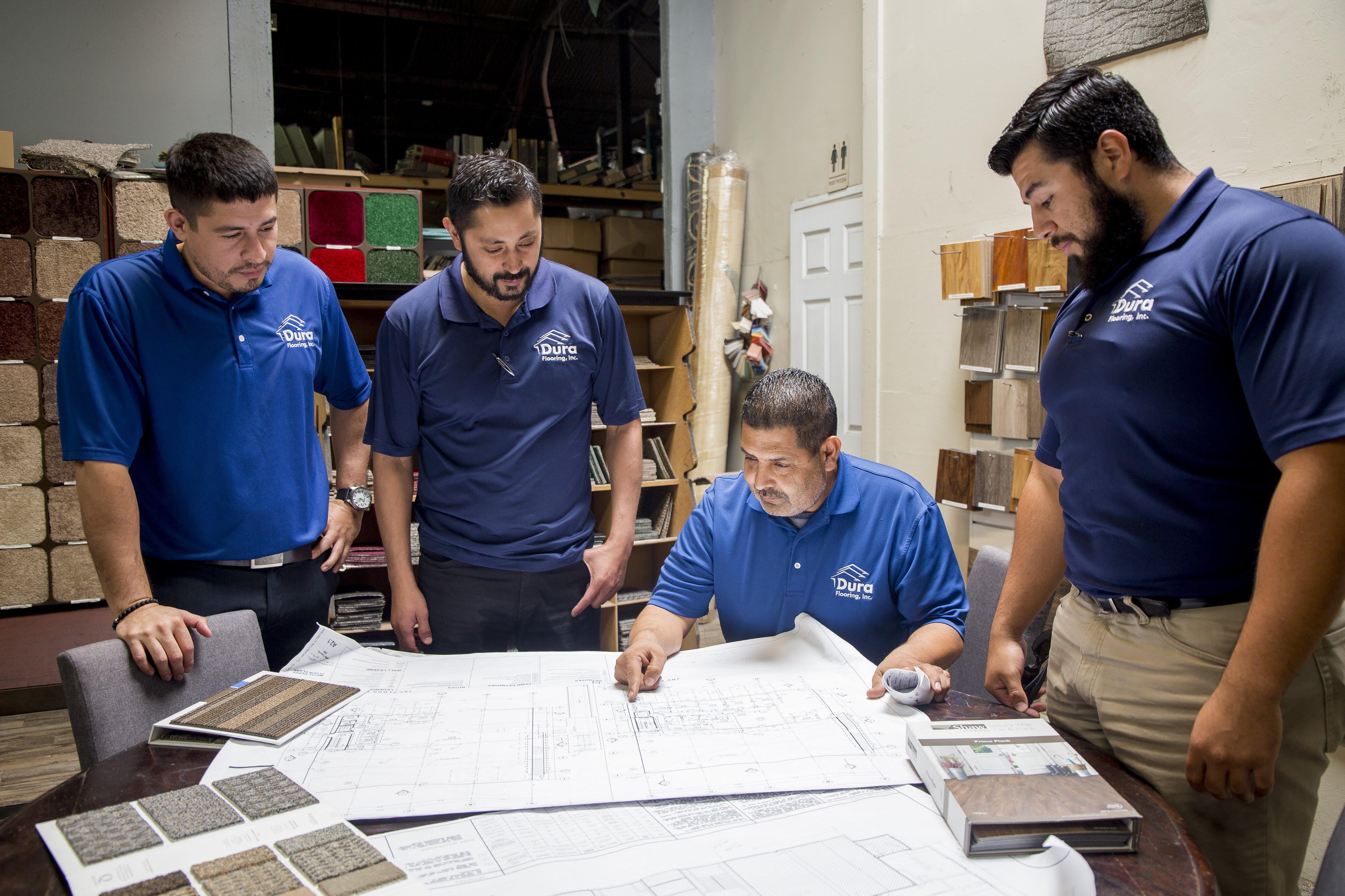 The Dura Flooring, Inc. installations team in Commerce, CA