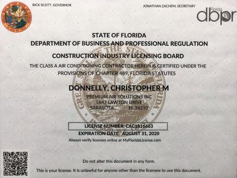 State of Florida HVAC license