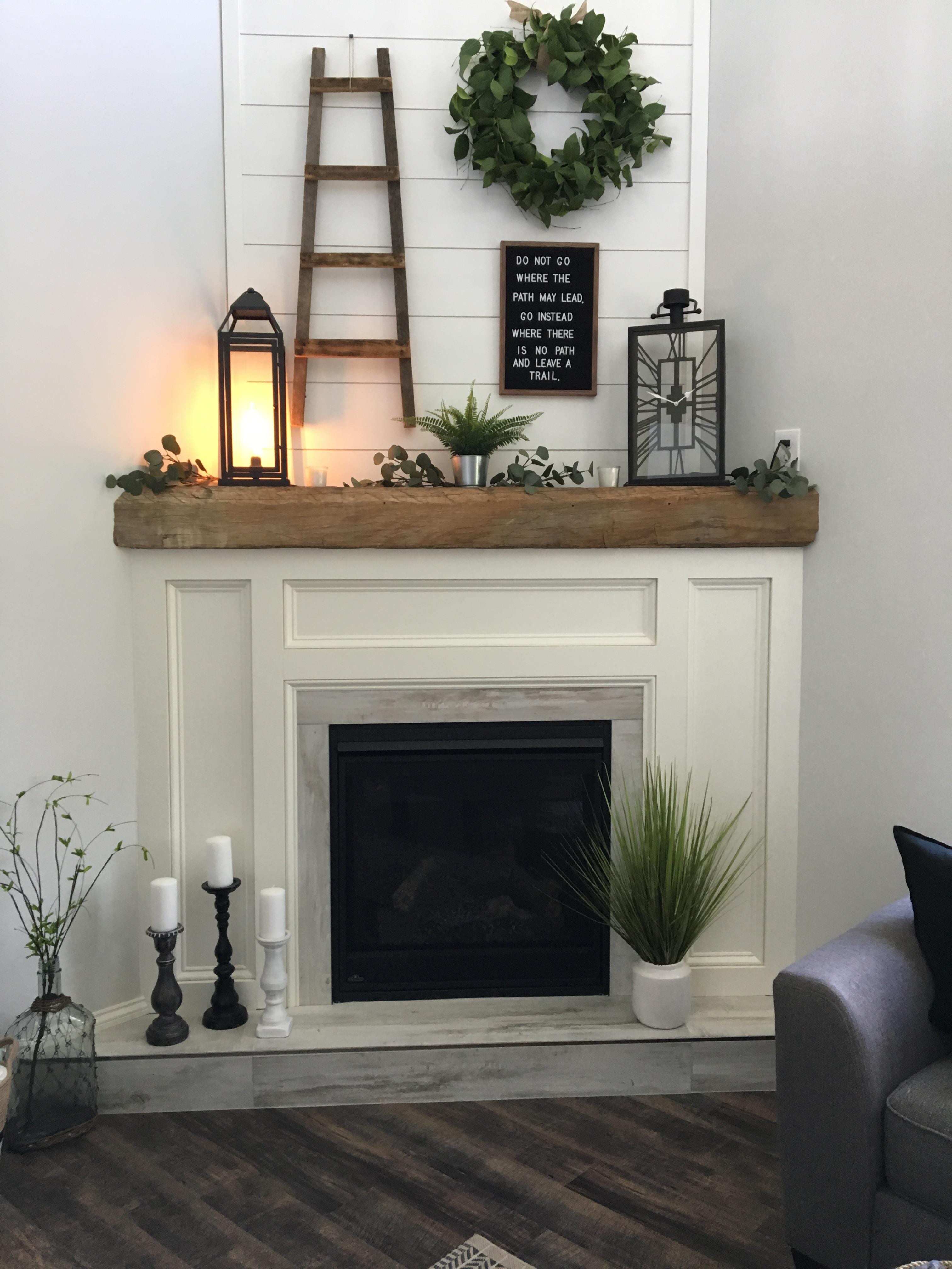 "Fireplace:  Tile Martha Vineyard 8""x48"" cottage white around fire place.  12""x48"" for the hearth"