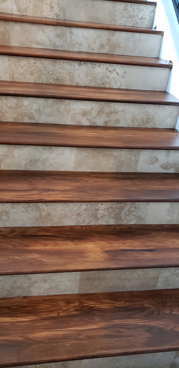 Hardwood flooring stairs from The Flooring Center in Sanford, FL