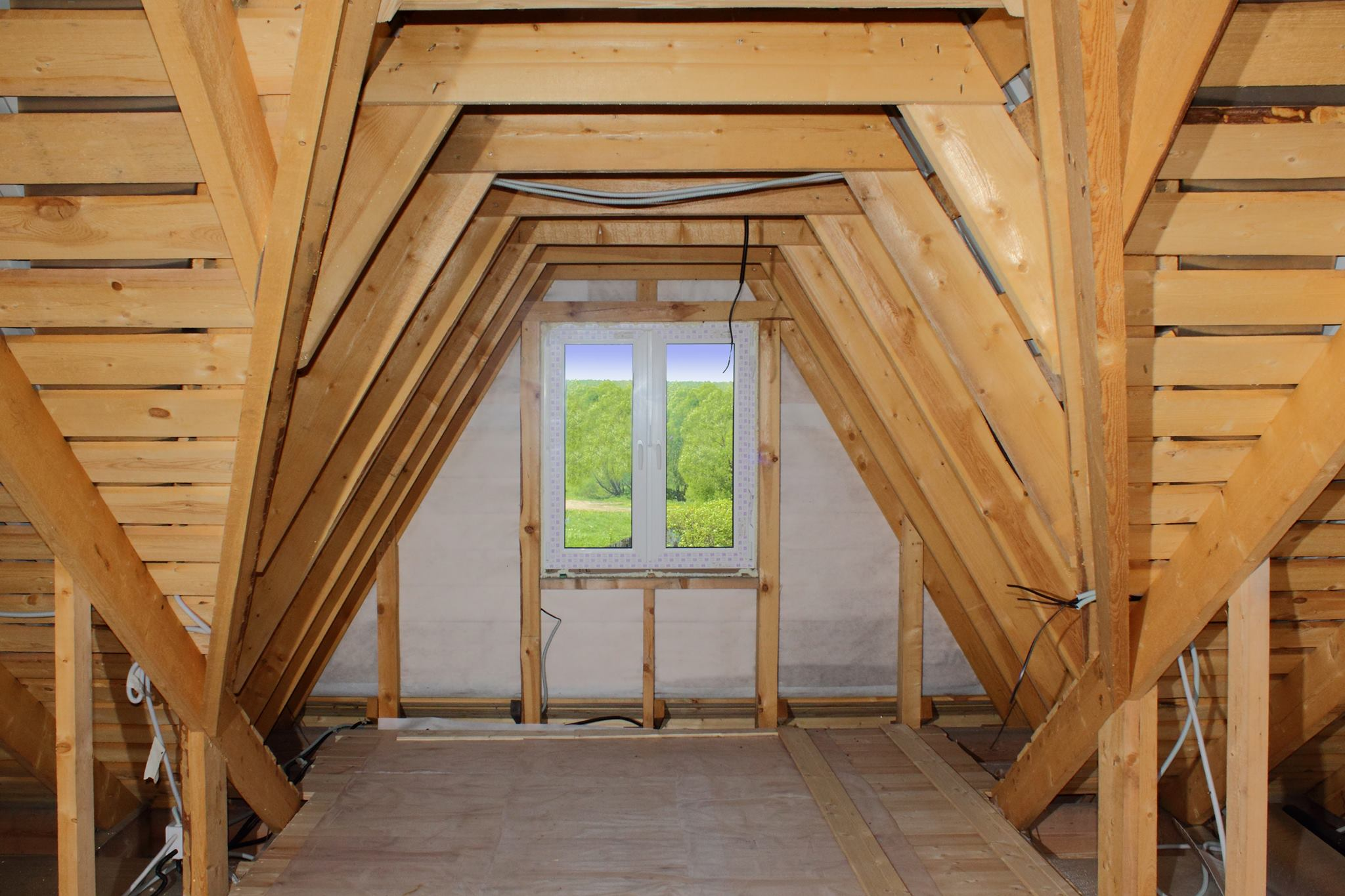 view of an attic before insulation work