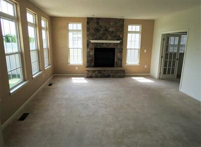 "Removed carpet in a Severna Park family room and installed 5"" maple hardwood for a fresh, updated look."