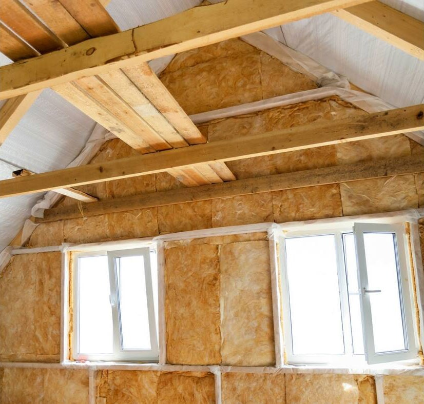 view of a roof after insulation installation