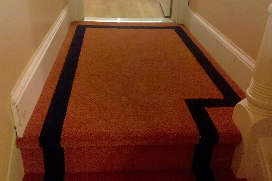 Custom carpeted stairs in Middletown, NJ from Carpets with a Twist
