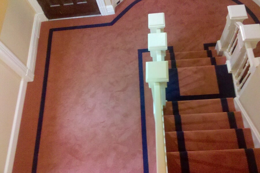 Carpet flooring continuing up stairs in Middletown, NJ from Carpets with a Twist