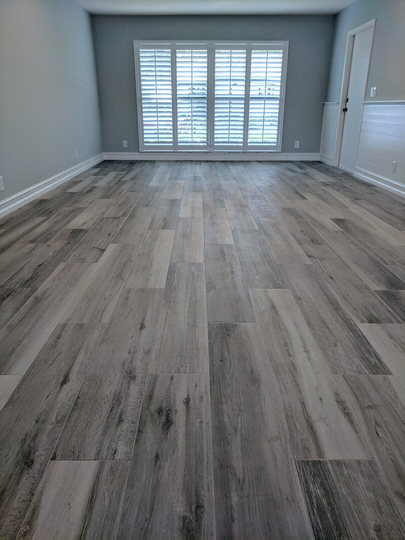 Plantation Shutters and the Wood Style Plank Tile installation from Capitol Carpet & Tile and Window Fashions in Boca Raton, FL