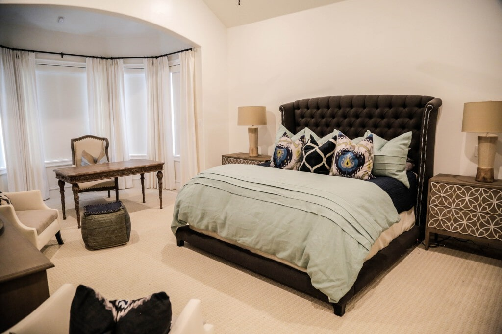 Bedroom remodel with ultra-soft stain resistant carpeting by Yates Flooring Center