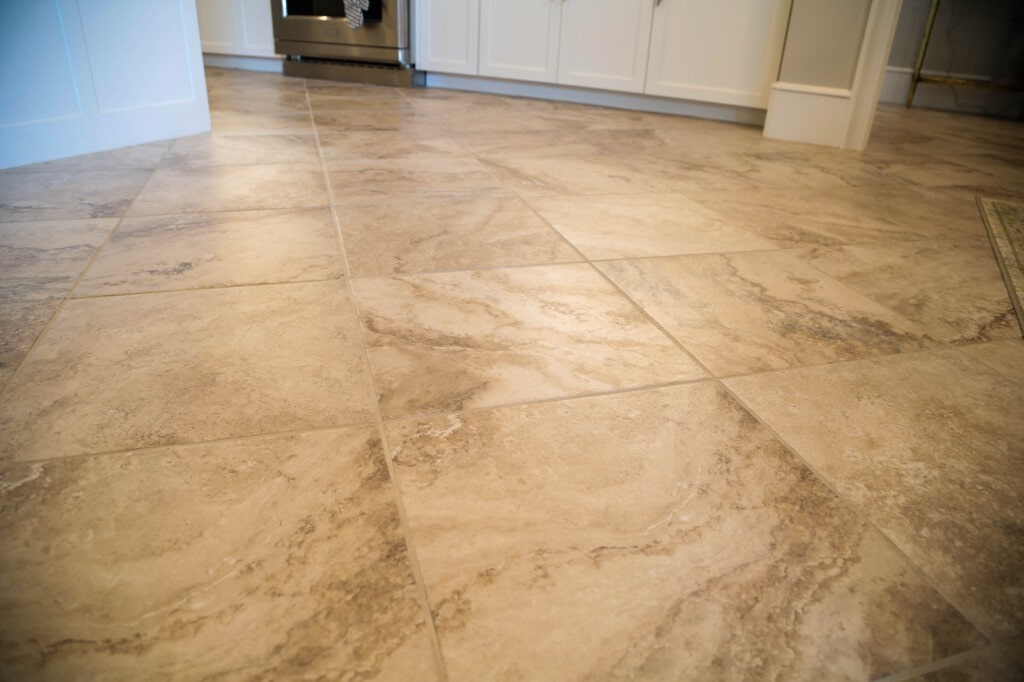 Custom tile floor installation by Yates Flooring Center