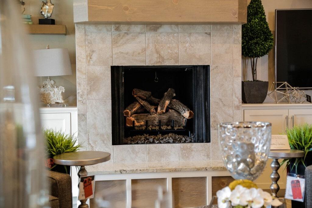 Custom tile fireplace by Yates Flooring Center