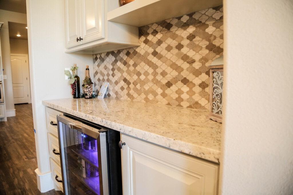 Custom dry bar tile backsplash by Yates Flooring Center