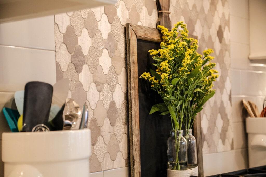 Paseo tile backsplash by Yates Flooring Center