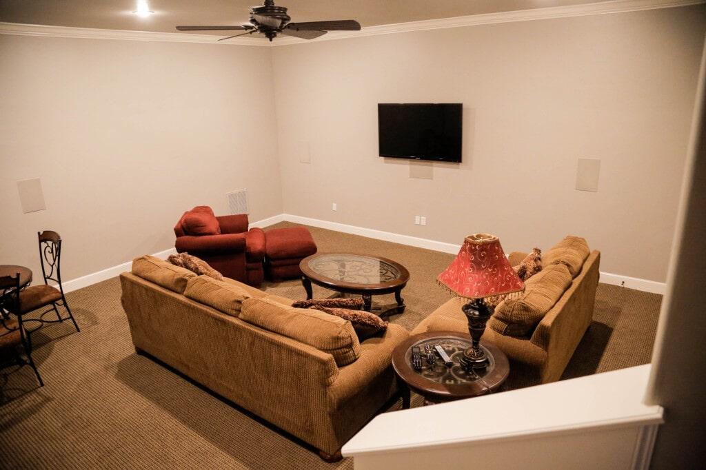Rec room carpeting by Yates Flooring Center
