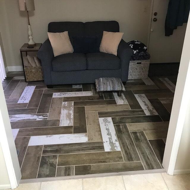 Guest room flooring installation: Vinyl and hardwood flooring