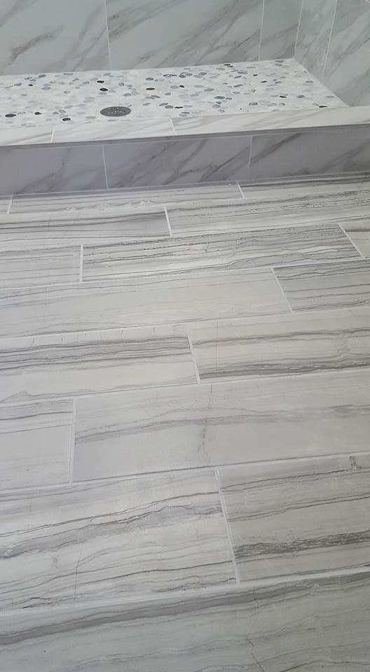 Marble look bathroom tile in Summerville, SC from Flooring Factory