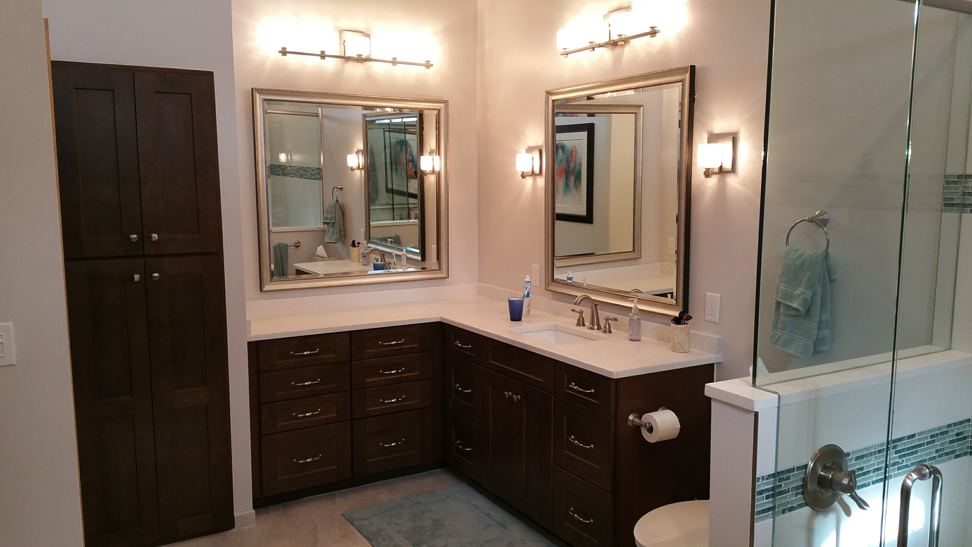 Shaker waypoint cabinetry for master bath vanity