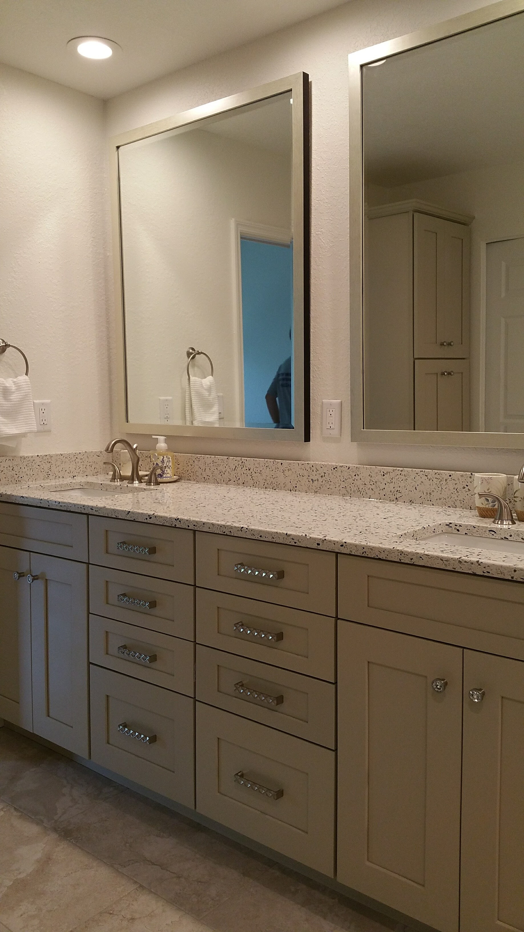 Full bathroom remodel with double vanity sink from Relo Interior Design in Tampa FL