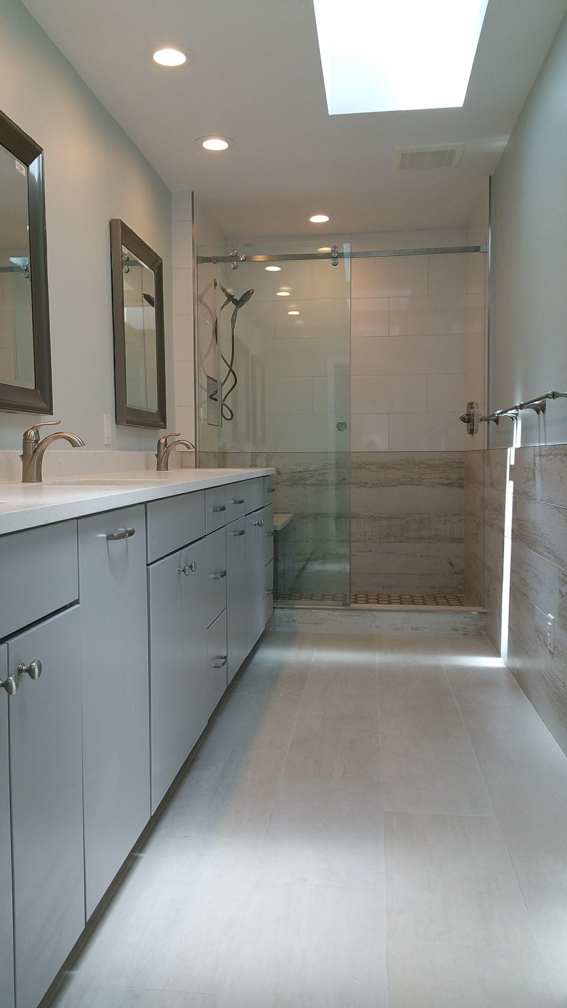 Full bathroom remodel with new shower, counters, cabinets and tile
