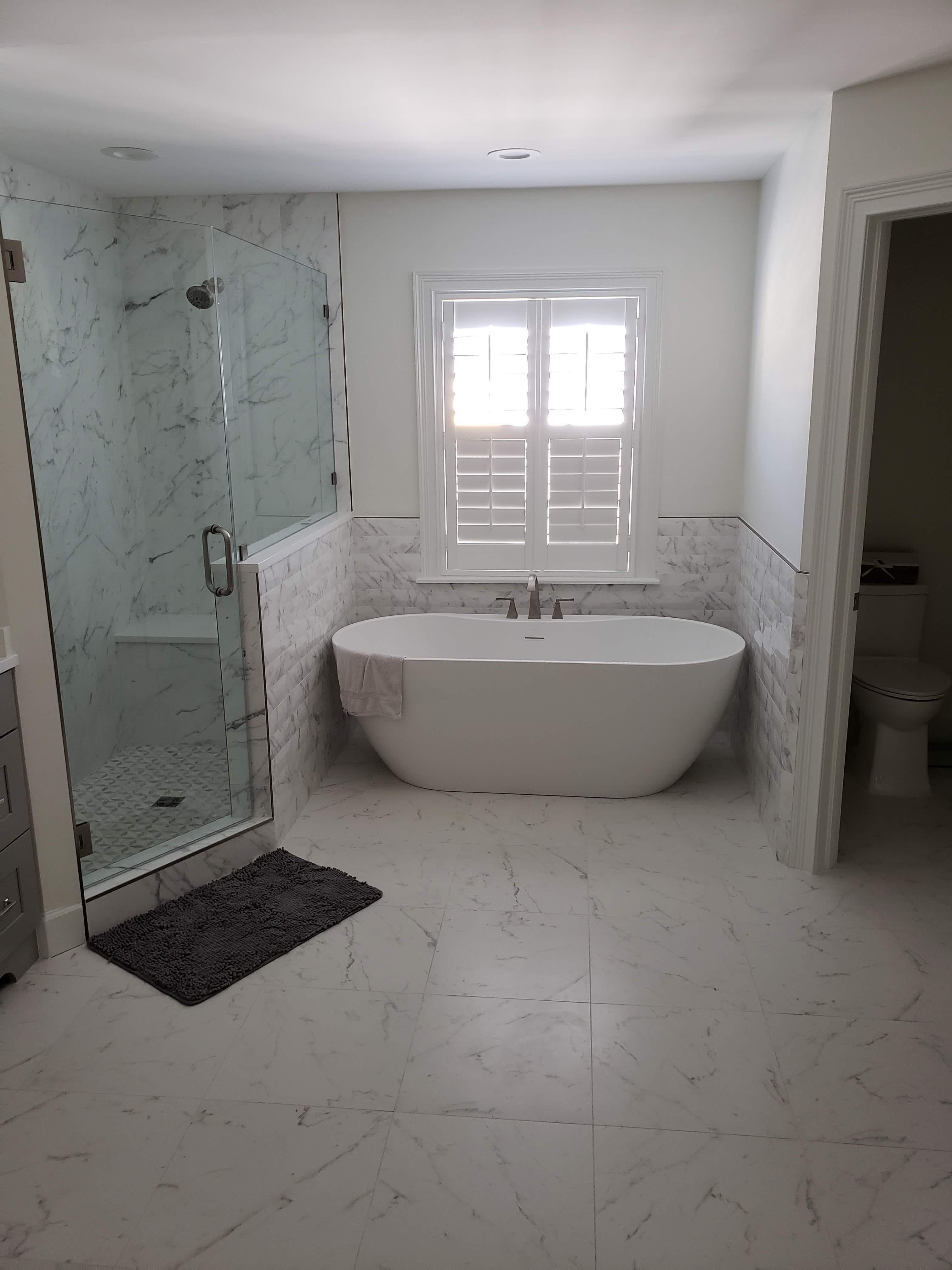 Marble porcelain bath & walk in shower remodel