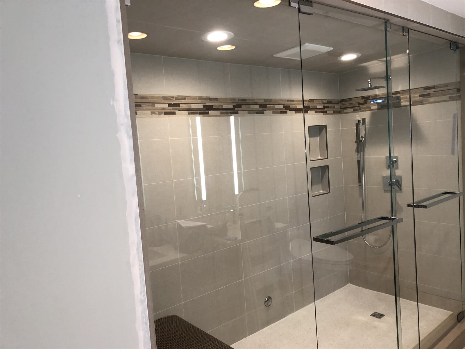 Waterfall Shower with steam faucet remodel from relo interiors service