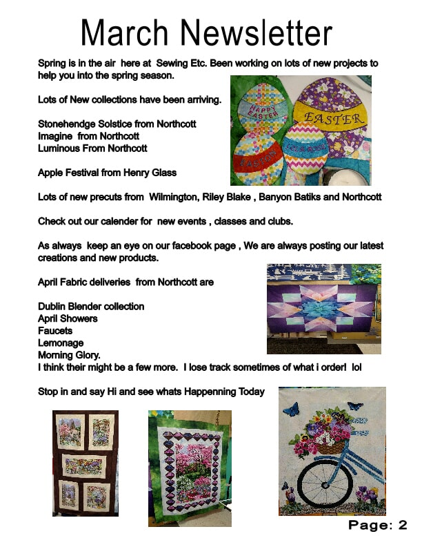 March Newsletter, Sewing Etc., Yorkville, IL