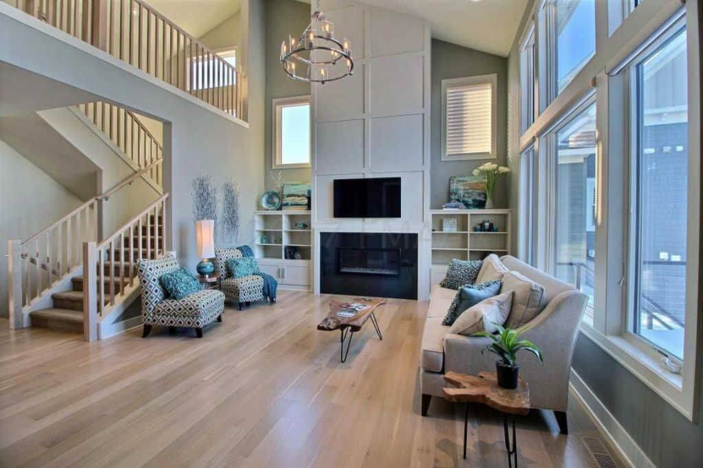stunning hardwood floors warm up this living room remodel in Fargo, ND