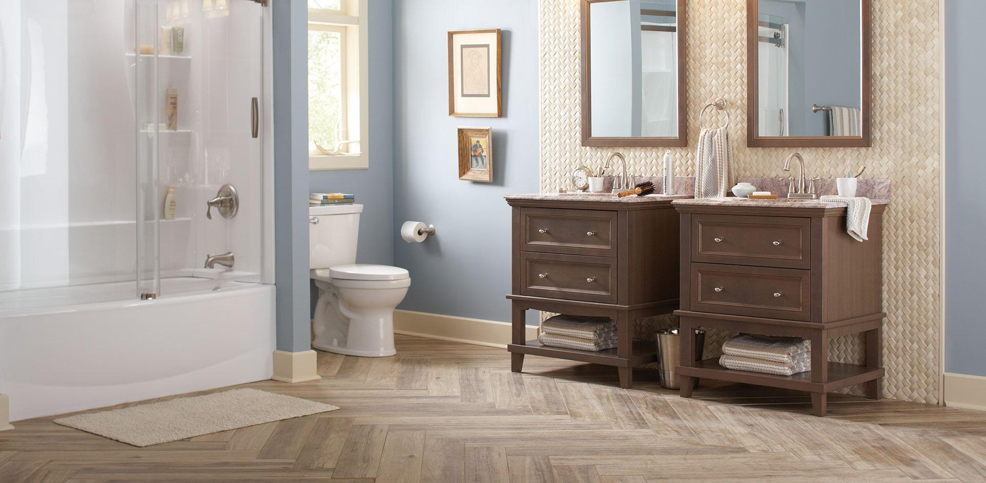 crema arched herringbone polished bathroom design