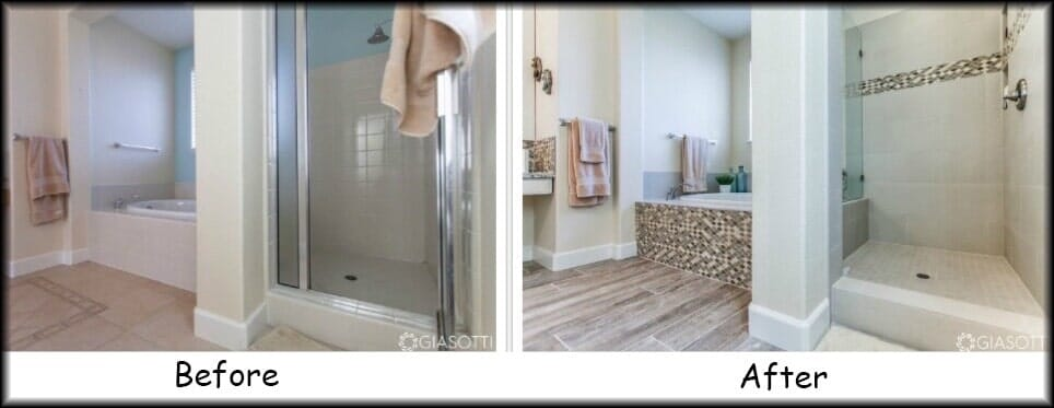 Luxury tile before and after flooring bathroom in