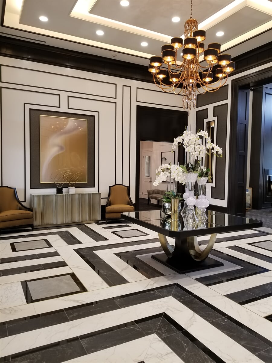 Patterned tile flooring for businesses