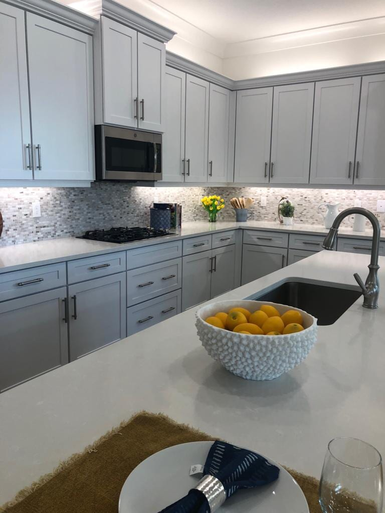 Glass tile backsplashes and accents