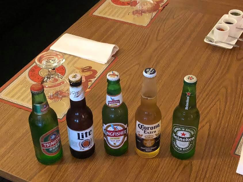 Bottle of Tsingtao, Miller Lite, King Fisher, Corona Lite and Heineken