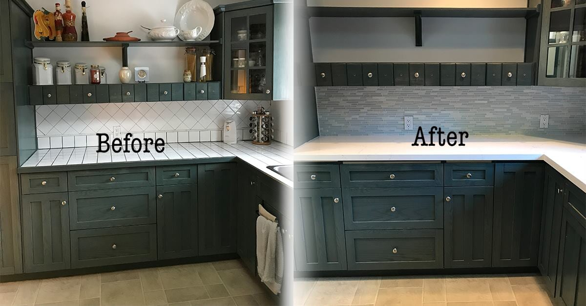 Before and after view of kitchen
