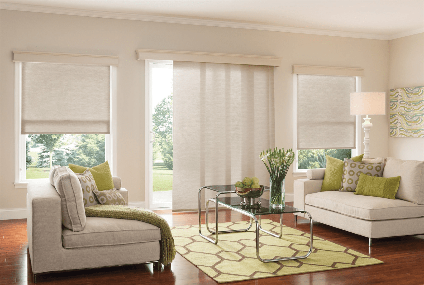 Living Room showcasing Window Treatments
