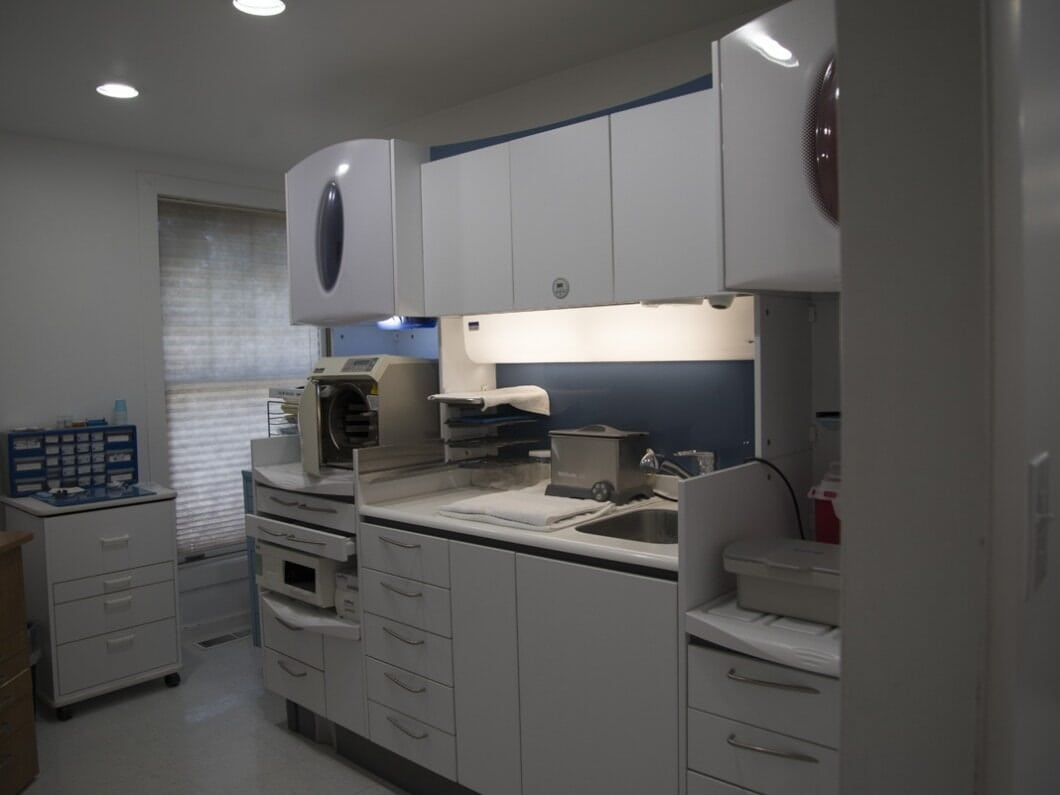 Storage, Cabinets and work area in William C. Tinelli D.D.S. Family Dentistry Office