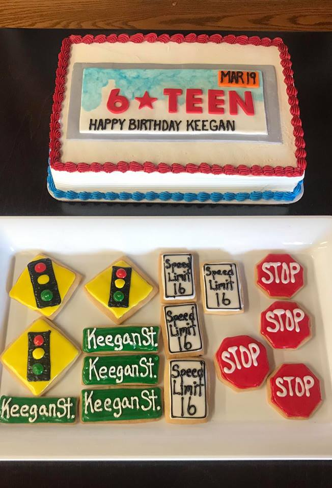 Driving themed 16th Birthday cake & matching cookies
